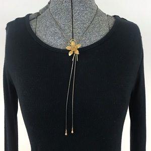 Vintage Flower Bolo Necklace Two-tone